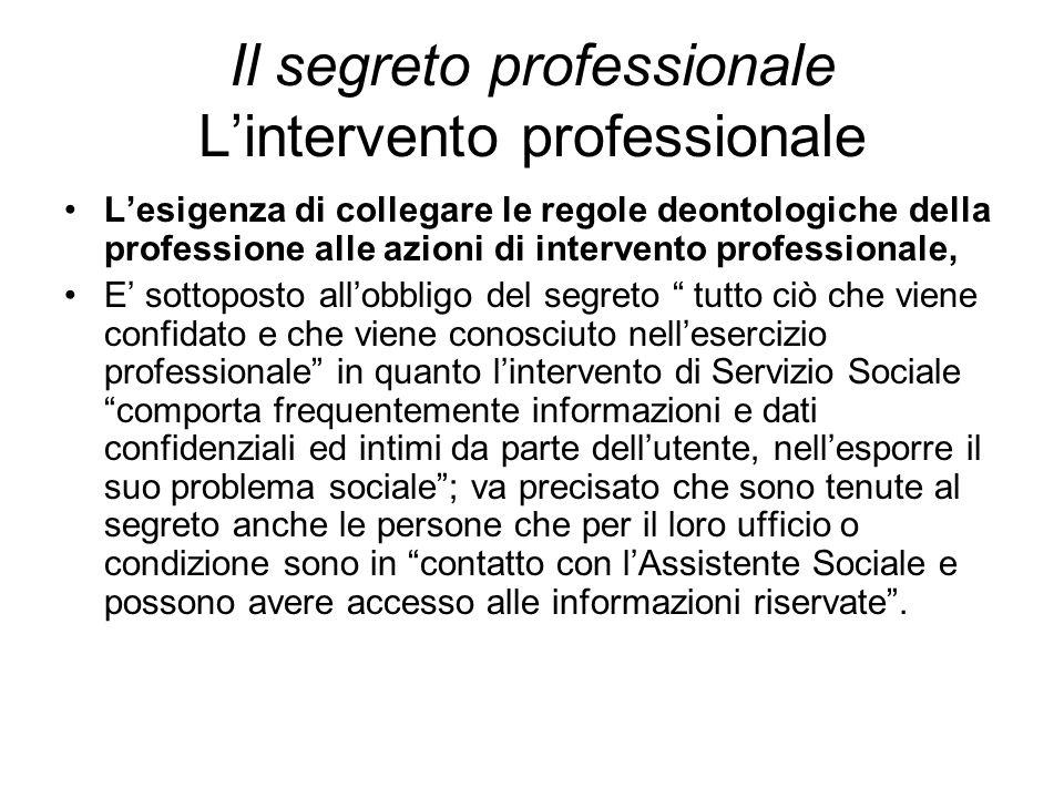 Il segreto professionale L'intervento professionale L'esigenza di collegare le regole deontologiche della professione alle azioni di intervento profes
