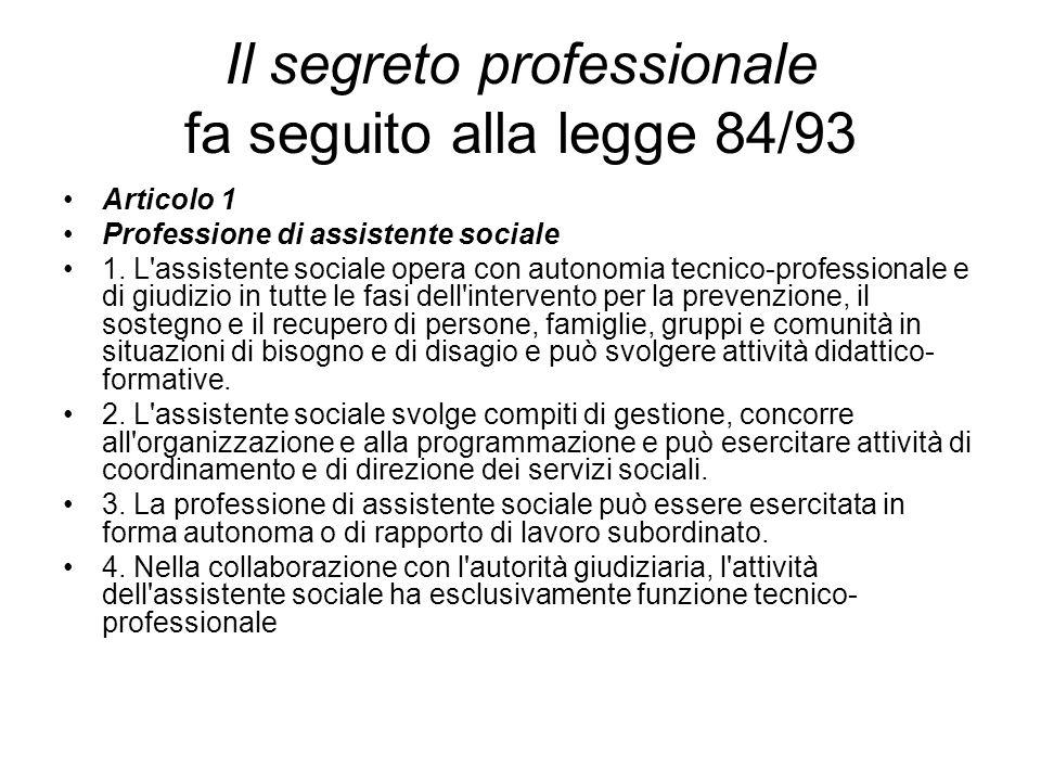 Il segreto professionale fa seguito alla legge 84/93 Articolo 1 Professione di assistente sociale 1. L'assistente sociale opera con autonomia tecnico-