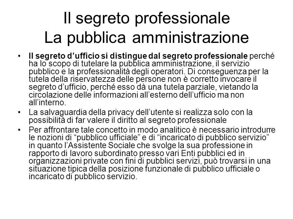 Il segreto professionale La pubblica amministrazione Il segreto d'ufficio si distingue dal segreto professionale perché ha lo scopo di tutelare la pub