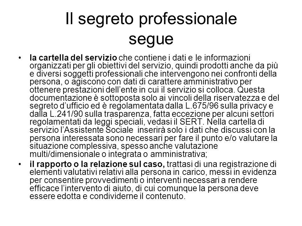 Il segreto professionale segue la cartella del servizio che contiene i dati e le informazioni organizzati per gli obiettivi del servizio, quindi prodo
