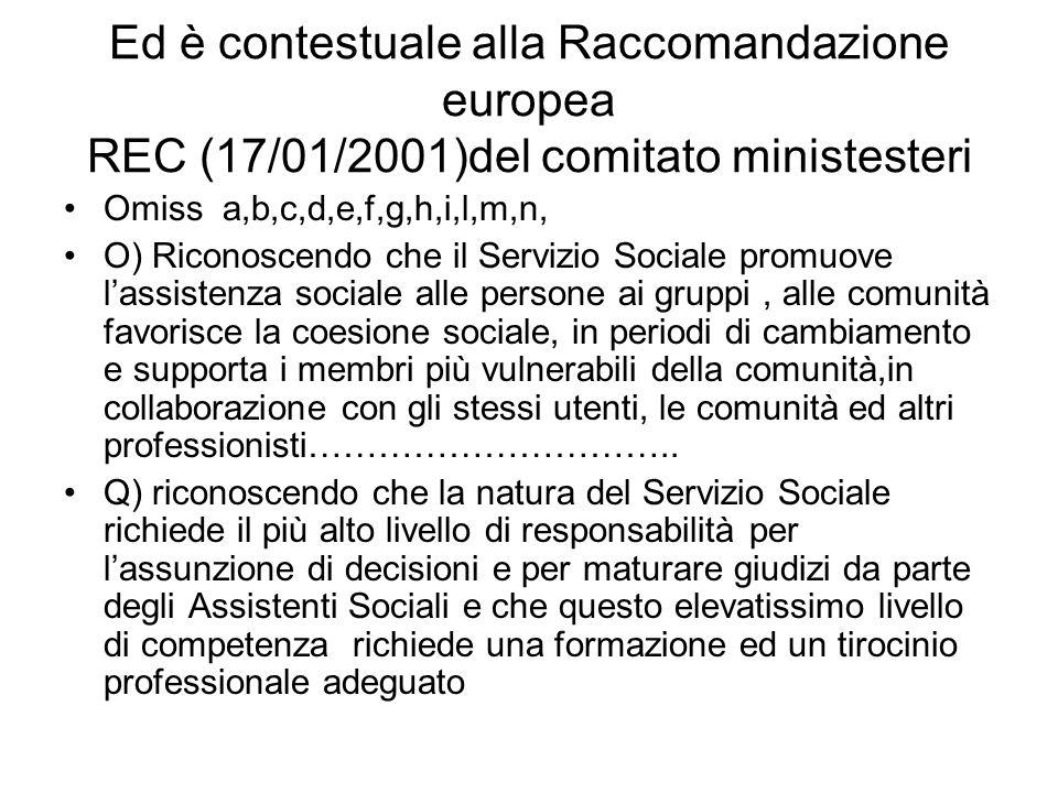 Ed è contestuale alla Raccomandazione europea REC (17/01/2001)del comitato ministesteri Omiss a,b,c,d,e,f,g,h,i,l,m,n, O) Riconoscendo che il Servizio