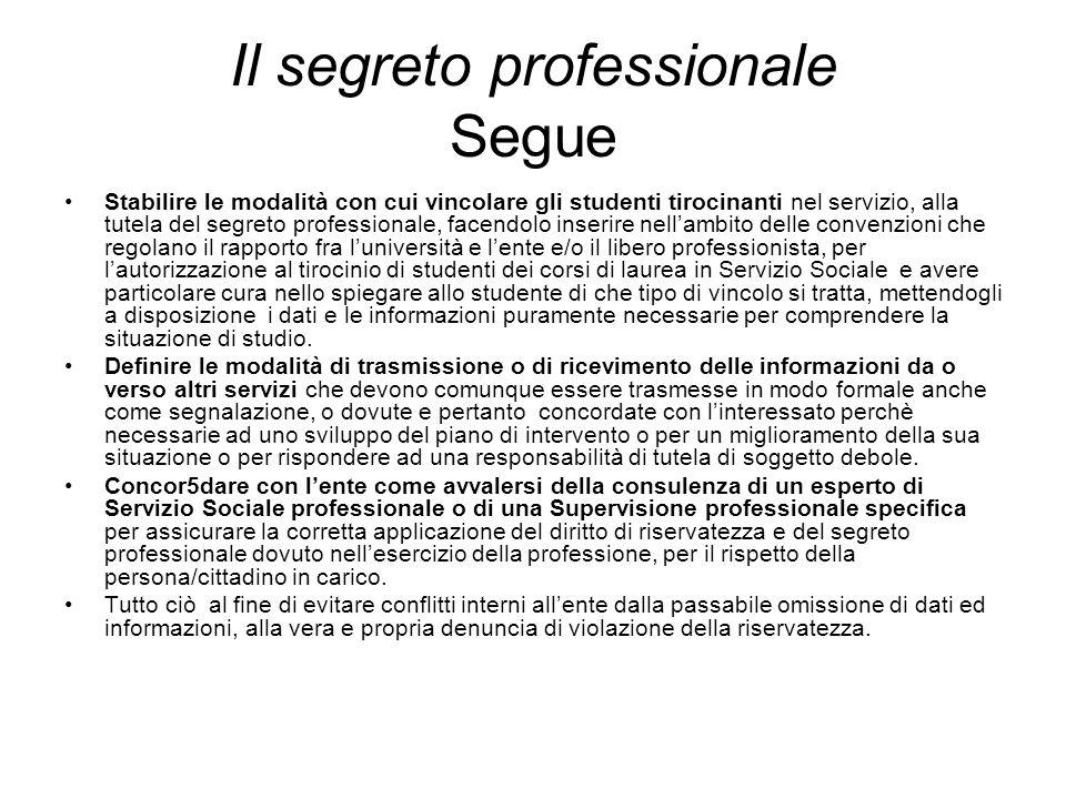 Il segreto professionale Segue Stabilire le modalità con cui vincolare gli studenti tirocinanti nel servizio, alla tutela del segreto professionale, f