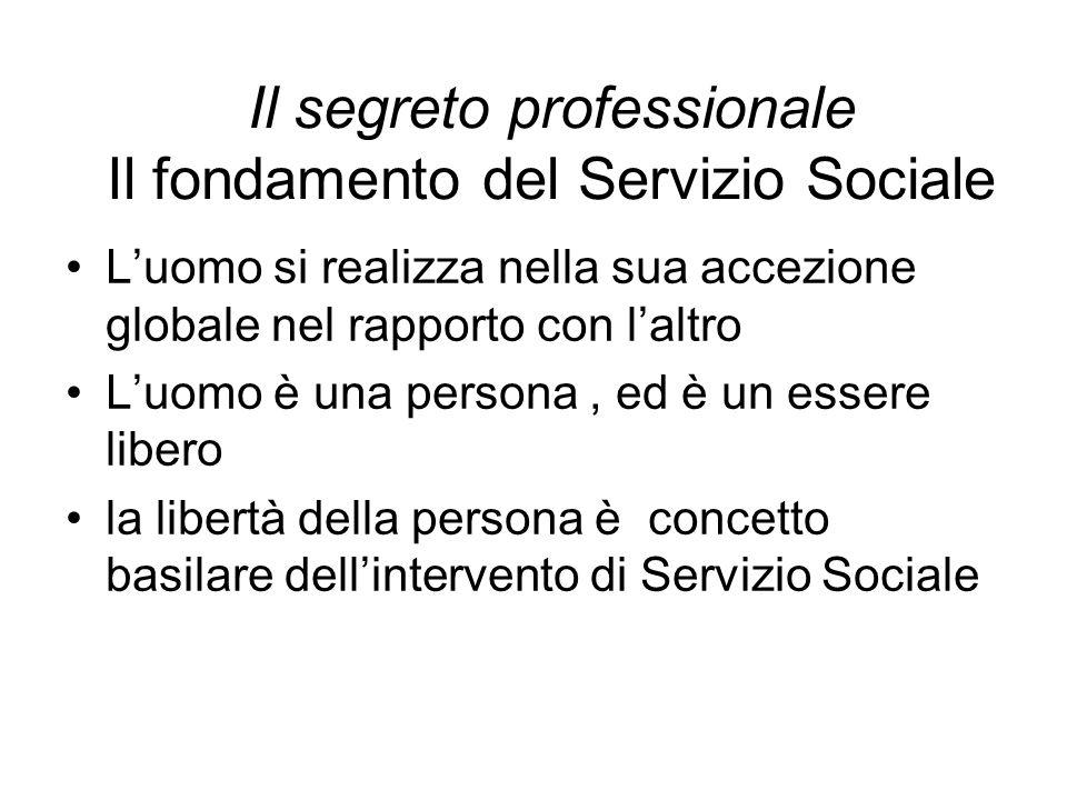 Il segreto professionale Il fondamento del Servizio Sociale L'uomo si realizza nella sua accezione globale nel rapporto con l'altro L'uomo è una perso