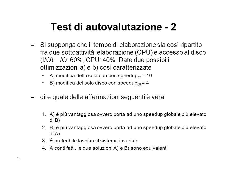 14 Test di autovalutazione - 2 –Si supponga che il tempo di elaborazione sia così ripartito fra due sottoattività: elaborazione (CPU) e accesso al disco (I/O): I/O: 60%, CPU: 40%.