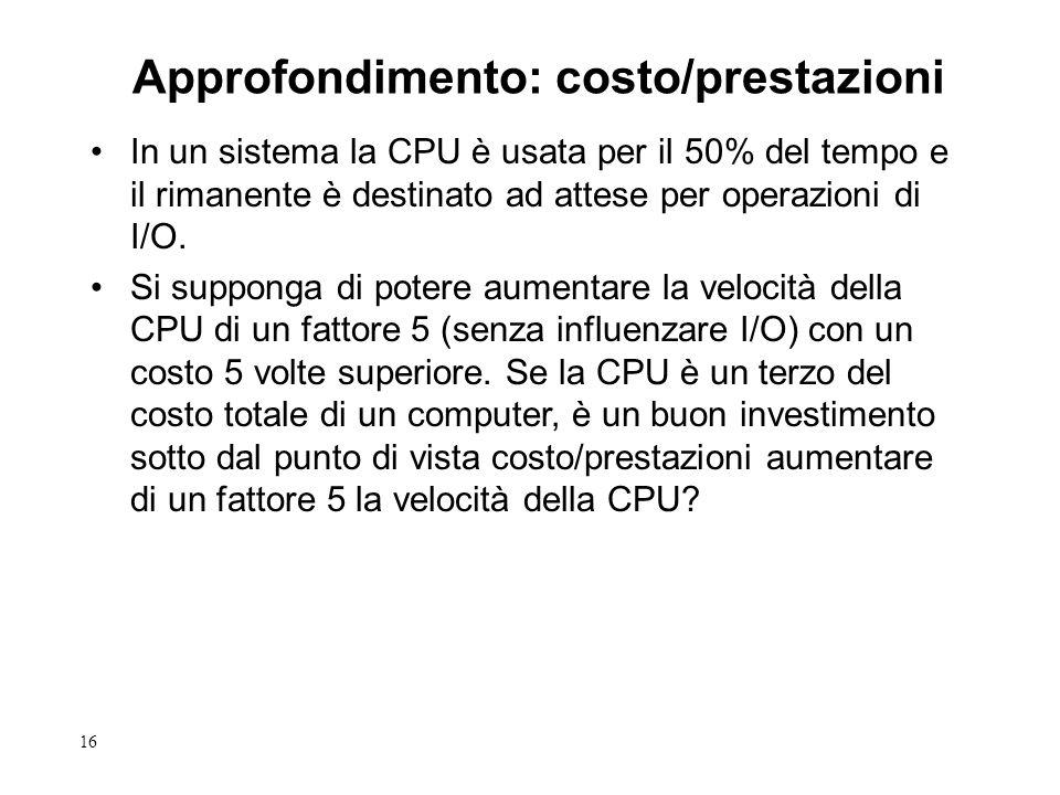16 In un sistema la CPU è usata per il 50% del tempo e il rimanente è destinato ad attese per operazioni di I/O. Si supponga di potere aumentare la ve