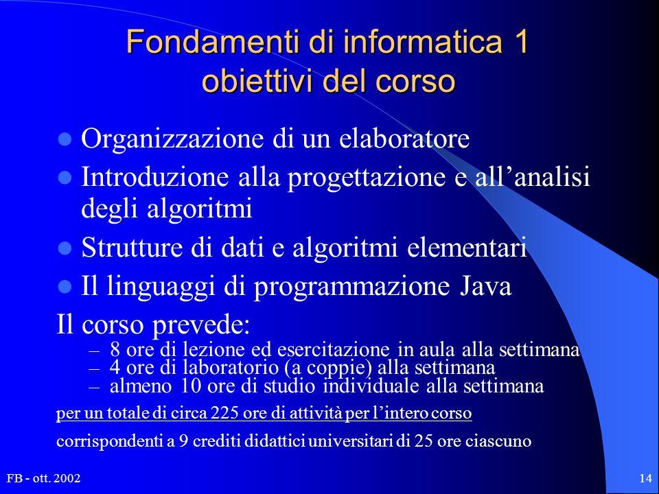 FB - ott. 200214 Fondamenti di informatica 1 obiettivi del corso Organizzazione di un elaboratore Introduzione alla progettazione e all'analisi degli
