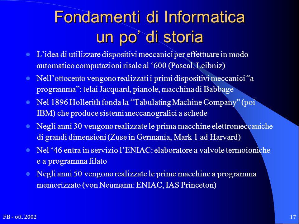 FB - ott. 200217 Fondamenti di Informatica un po' di storia L'idea di utilizzare dispositivi meccanici per effettuare in modo automatico computazioni
