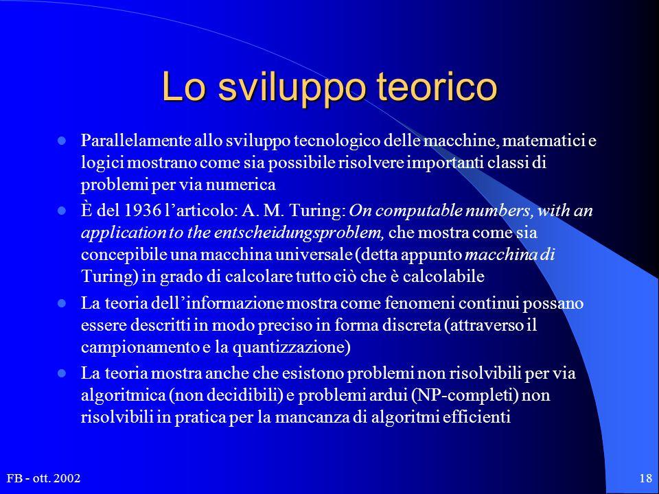 FB - ott. 200218 Lo sviluppo teorico Parallelamente allo sviluppo tecnologico delle macchine, matematici e logici mostrano come sia possibile risolver