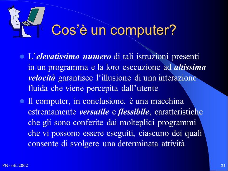 FB - ott. 200221 Cos'è un computer? L'elevatissimo numero di tali istruzioni presenti in un programma e la loro esecuzione ad altissima velocità garan