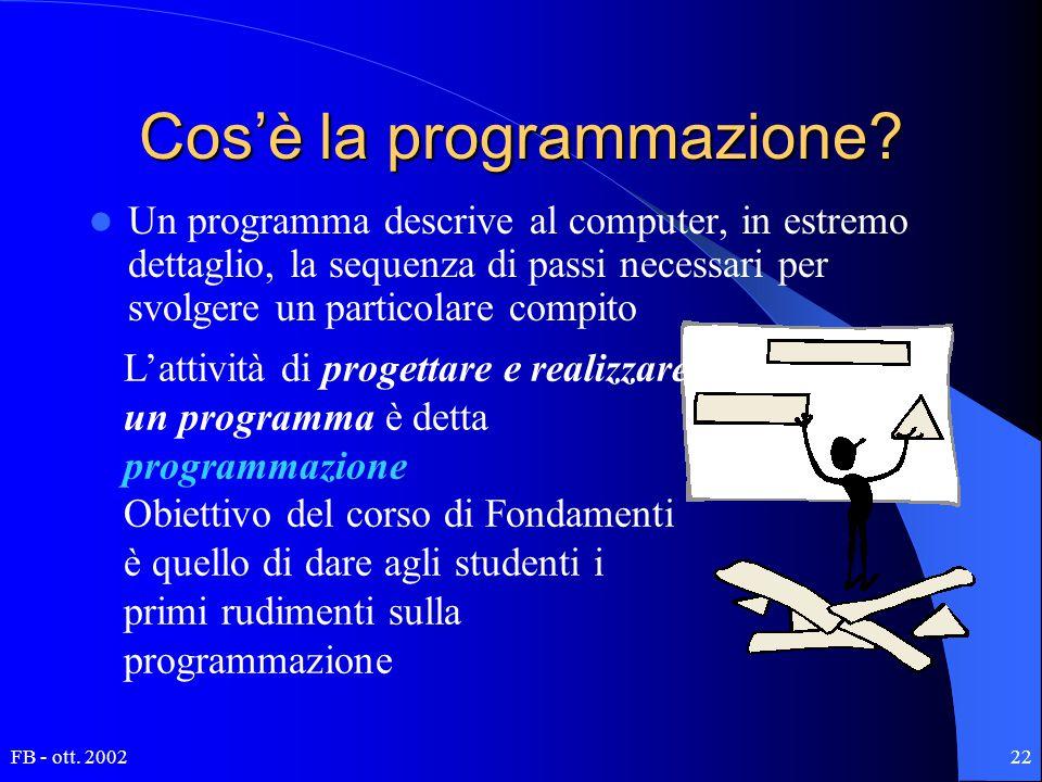 FB - ott. 200222 Cos'è la programmazione? Un programma descrive al computer, in estremo dettaglio, la sequenza di passi necessari per svolgere un part