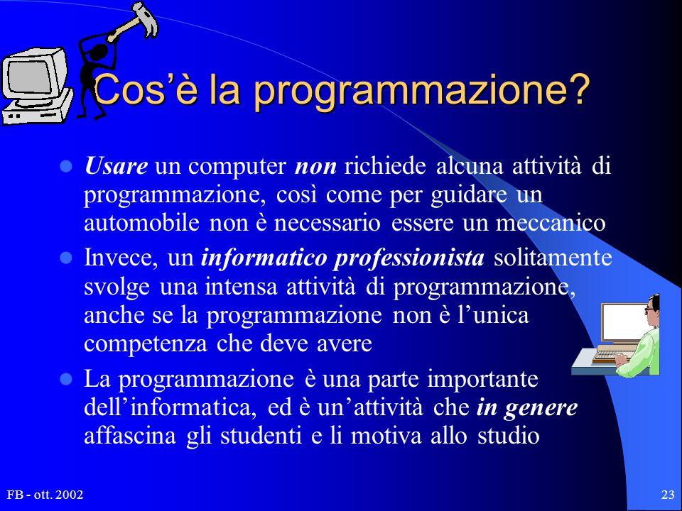 FB - ott. 200223 Cos'è la programmazione? Usare un computer non richiede alcuna attività di programmazione, così come per guidare un automobile non è