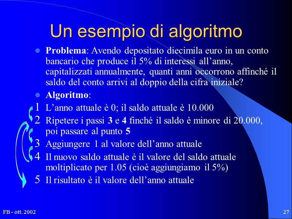 FB - ott. 200227 Un esempio di algoritmo Problema: Avendo depositato diecimila euro in un conto bancario che produce il 5% di interessi all'anno, capi