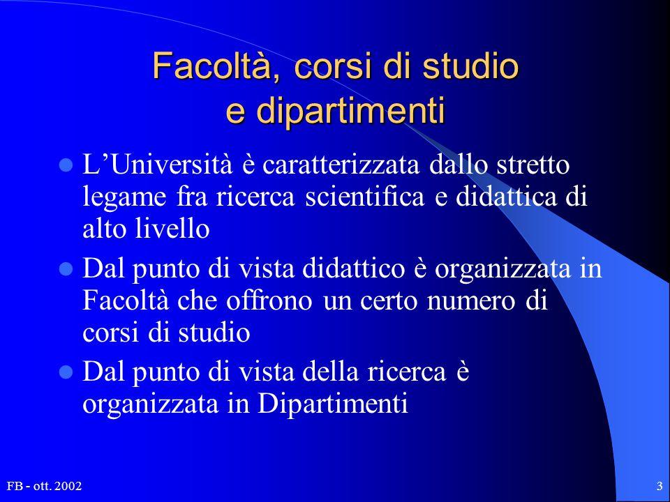 FB - ott. 20023 Facoltà, corsi di studio e dipartimenti L'Università è caratterizzata dallo stretto legame fra ricerca scientifica e didattica di alto