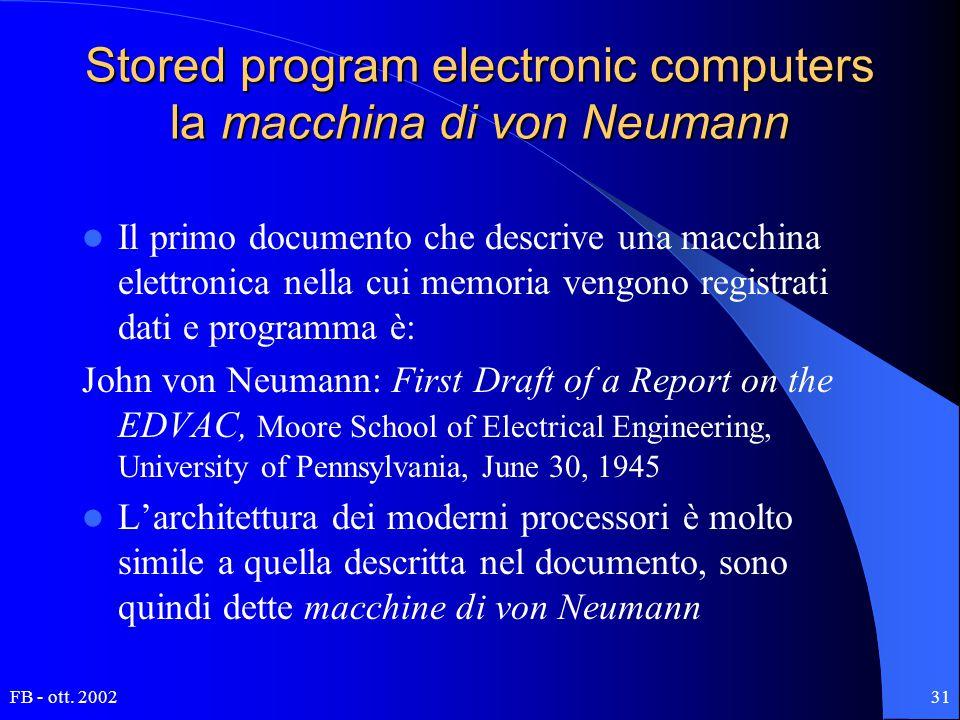 FB - ott. 200231 Stored program electronic computers la macchina di von Neumann Il primo documento che descrive una macchina elettronica nella cui mem