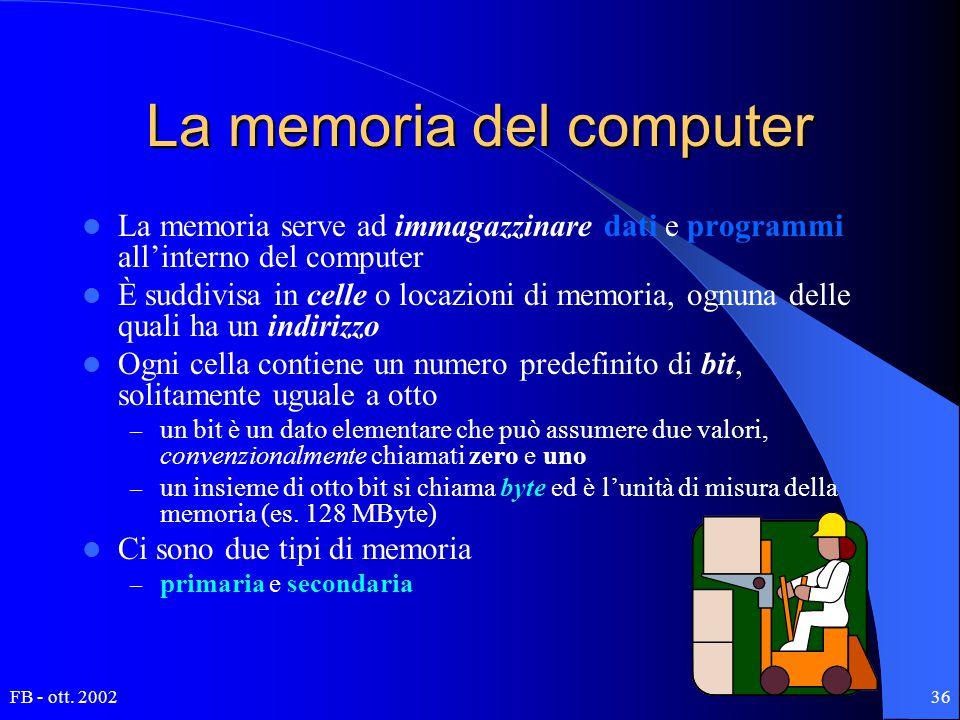 FB - ott. 200236 La memoria del computer La memoria serve ad immagazzinare dati e programmi all'interno del computer È suddivisa in celle o locazioni