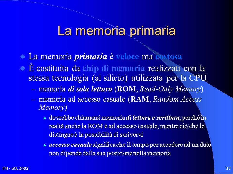 FB - ott. 200237 La memoria primaria La memoria primaria è veloce ma costosa È costituita da chip di memoria realizzati con la stessa tecnologia (al s