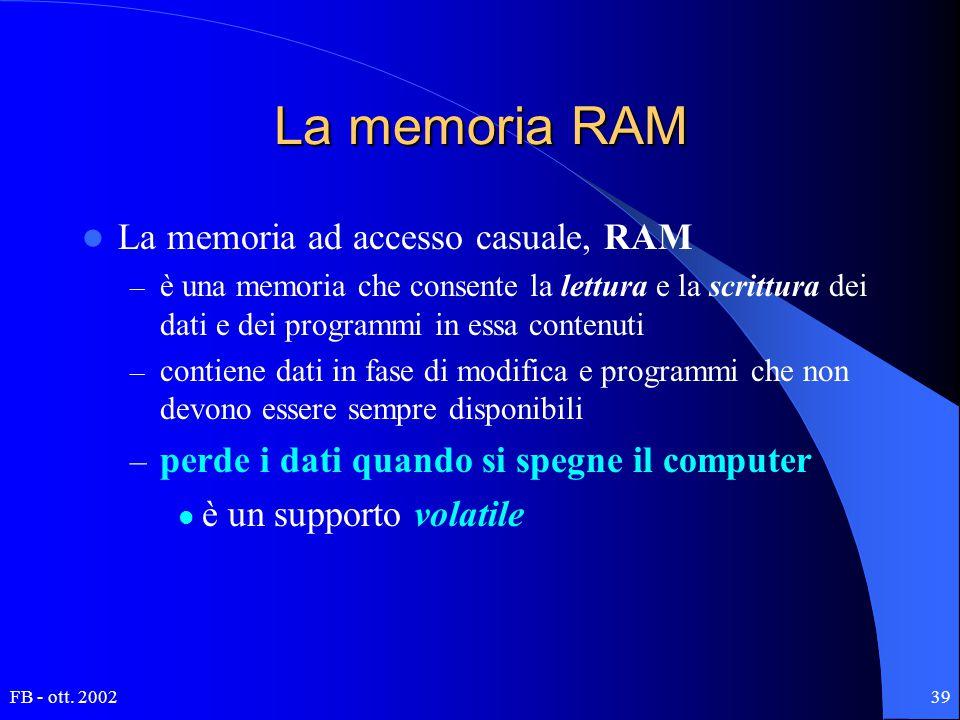 FB - ott. 200239 La memoria RAM La memoria ad accesso casuale, RAM – è una memoria che consente la lettura e la scrittura dei dati e dei programmi in