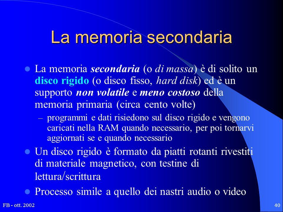 FB - ott. 200240 La memoria secondaria La memoria secondaria (o di massa) è di solito un disco rigido (o disco fisso, hard disk) ed è un supporto non