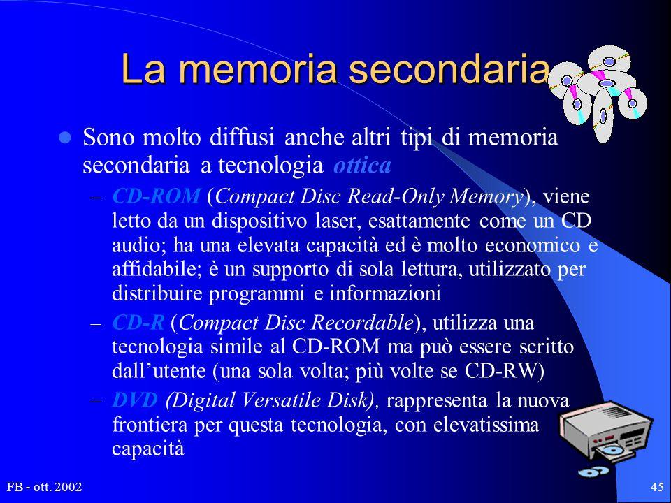 FB - ott. 200245 La memoria secondaria Sono molto diffusi anche altri tipi di memoria secondaria a tecnologia ottica – CD-ROM (Compact Disc Read-Only