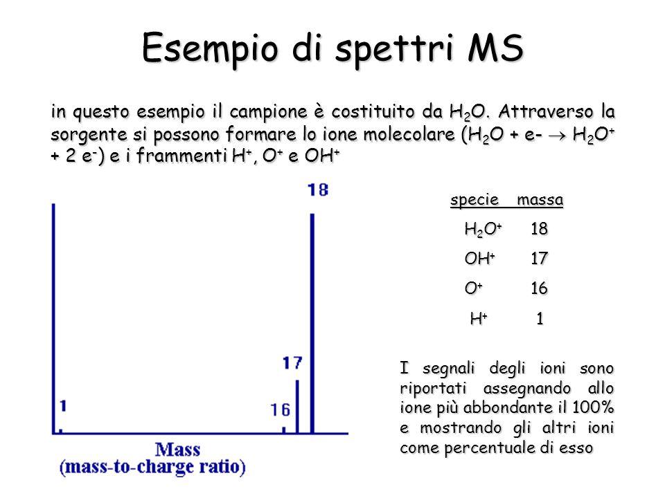 Esempio di spettri MS in questo esempio il campione è costituito da H 2 O. Attraverso la sorgente si possono formare lo ione molecolare (H 2 O + e- 