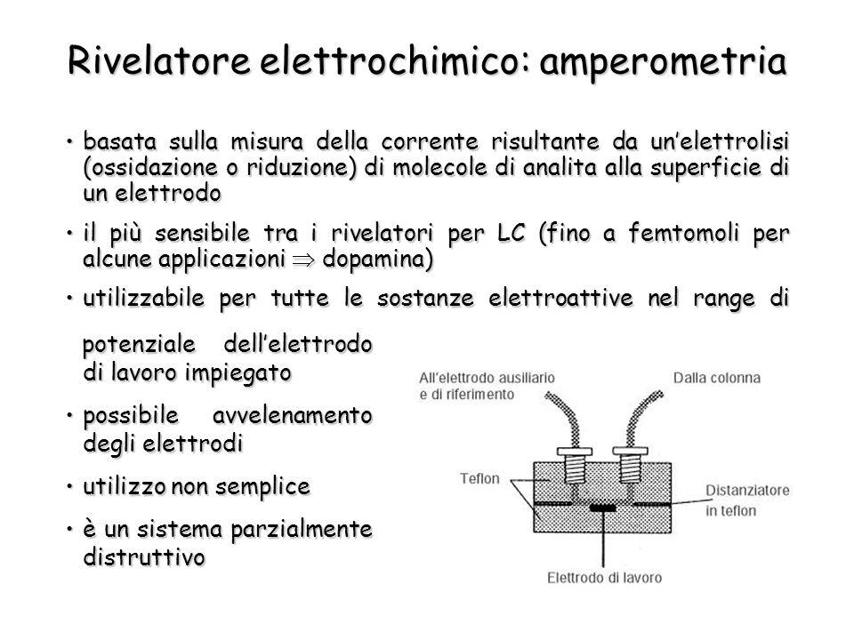 Rivelatore elettrochimico: amperometria basata sulla misura della corrente risultante da un'elettrolisi (ossidazione o riduzione) di molecole di anali