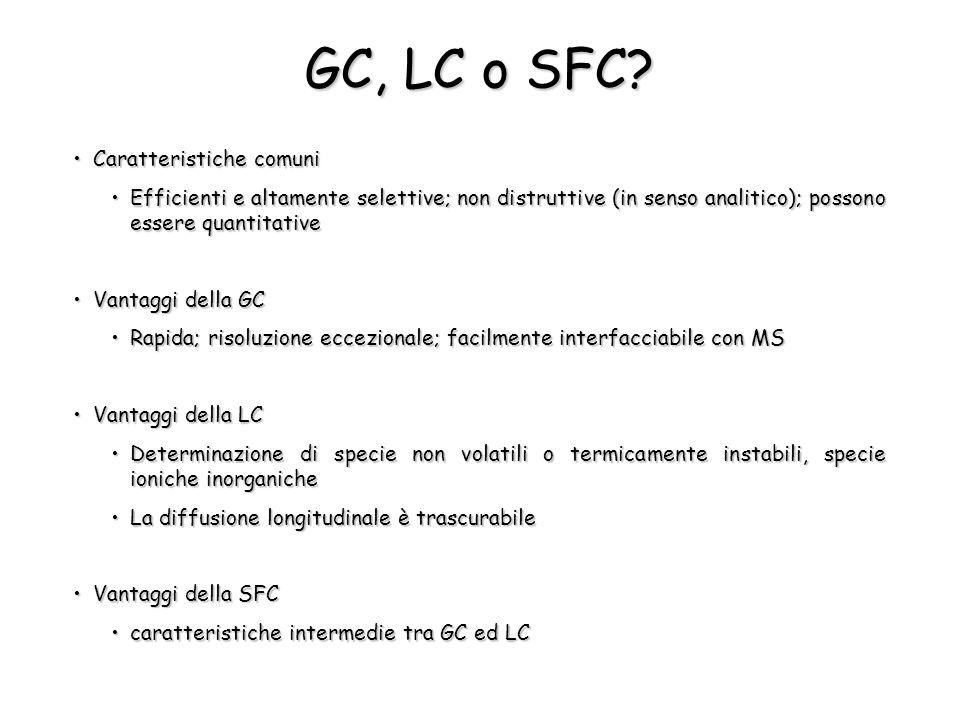 GC, LC o SFC? Caratteristiche comuniCaratteristiche comuni Efficienti e altamente selettive; non distruttive (in senso analitico); possono essere quan