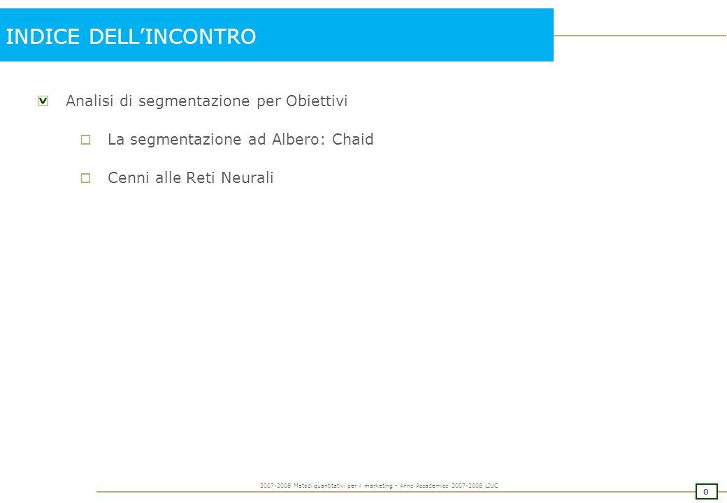 1 2007-2008 Metodi quantitativi per il marketing – Anno Accademico 2007-2008 LIUC SEGMENTAZIONE PER OBIETTIVI: CHAID perché la Segmentazione ad Albero?...