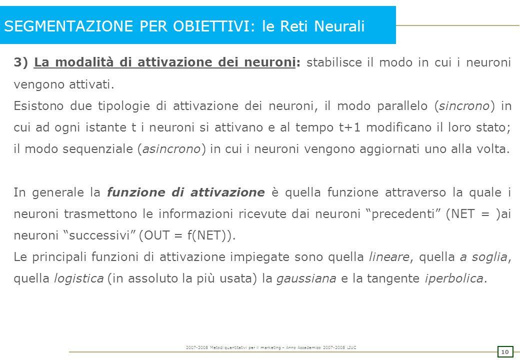 10 2007-2008 Metodi quantitativi per il marketing – Anno Accademico 2007-2008 LIUC SEGMENTAZIONE PER OBIETTIVI: le Reti Neurali 3) La modalità di atti