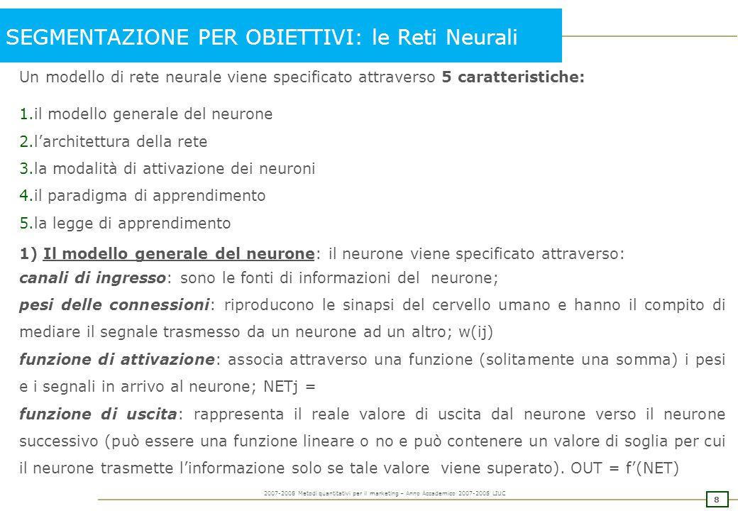 8 2007-2008 Metodi quantitativi per il marketing – Anno Accademico 2007-2008 LIUC SEGMENTAZIONE PER OBIETTIVI: le Reti Neurali Un modello di rete neur