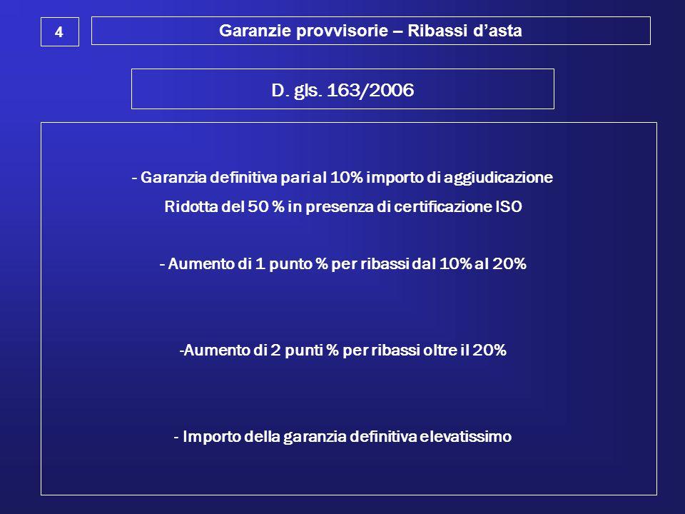 Garanzie provvisorie – Ribassi d'asta 4 D. gls. 163/2006 - Garanzia definitiva pari al 10% importo di aggiudicazione Ridotta del 50 % in presenza di c