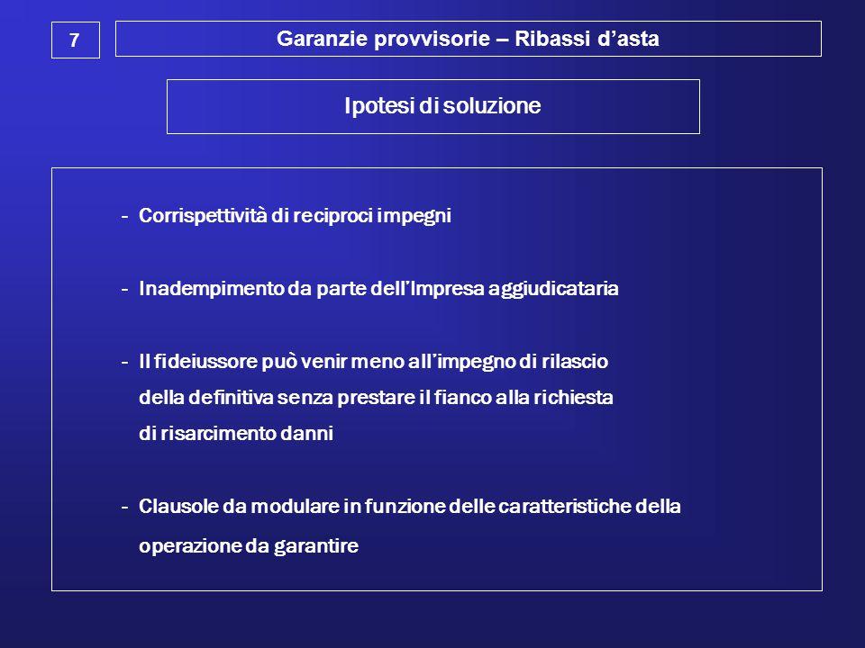 Garanzie provvisorie – Ribassi d'asta 7 Ipotesi di soluzione - Corrispettività di reciproci impegni - Inadempimento da parte dell'Impresa aggiudicatar