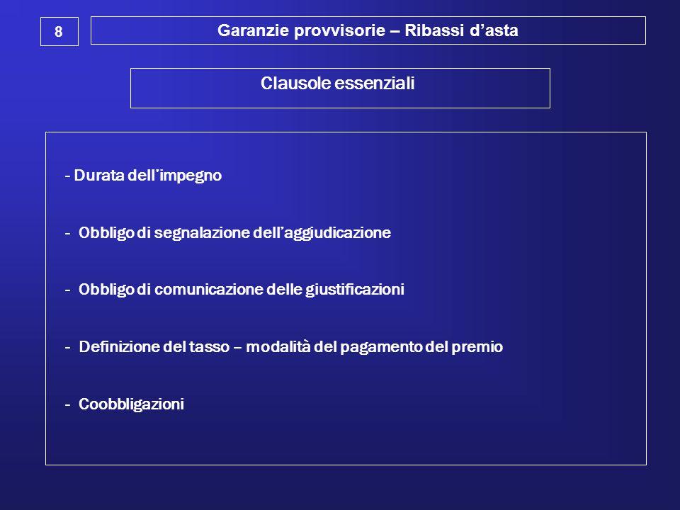 Garanzie provvisorie – Ribassi d'asta 8 Clausole essenziali - Durata dell'impegno - Obbligo di segnalazione dell'aggiudicazione - Obbligo di comunicaz