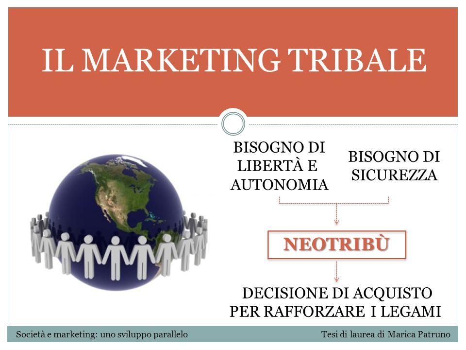 IL MARKETING TRIBALE Società e marketing: uno sviluppo parallelo Tesi di laurea di Marica Patruno NEOTRIBÙ BISOGNO DI LIBERTÀ E AUTONOMIA BISOGNO DI S