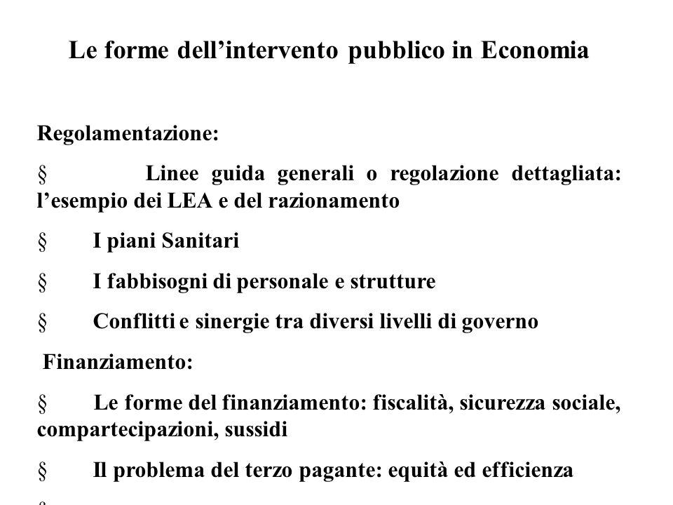 Le forme dell'intervento pubblico in Economia Regolamentazione:  Linee guida generali o regolazione dettagliata: l'esempio dei LEA e del razionamento