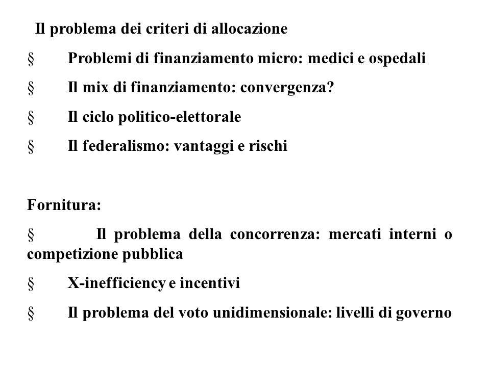Il problema dei criteri di allocazione  Problemi di finanziamento micro: medici e ospedali  Il mix di finanziamento: convergenza?  Il ciclo politic