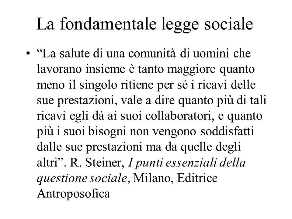 """La fondamentale legge sociale """"La salute di una comunità di uomini che lavorano insieme è tanto maggiore quanto meno il singolo ritiene per sé i ricav"""
