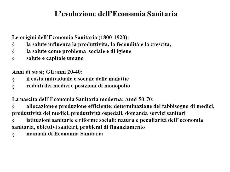 L'evoluzione dell'Economia Sanitaria Le origini dell'Economia Sanitaria (1800-1920):  la salute influenza la produttività, la fecondità e la crescita