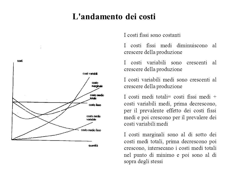 L'andamento dei costi I costi fissi sono costanti I costi fissi medi diminuiscono al crescere della produzione I costi variabili sono crescenti al cre
