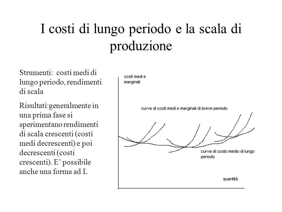 I costi di lungo periodo e la scala di produzione Strumenti: costi medi di lungo periodo, rendimenti di scala Risultati:generalmente in una prima fase