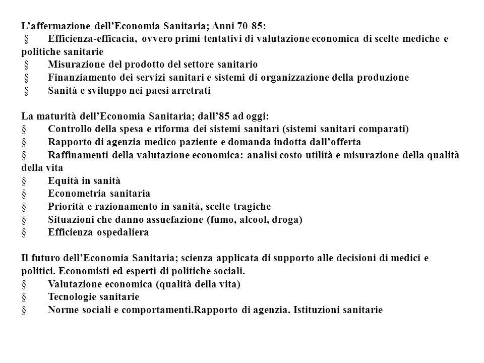 L'affermazione dell'Economia Sanitaria; Anni 70-85:  Efficienza-efficacia, ovvero primi tentativi di valutazione economica di scelte mediche e politi