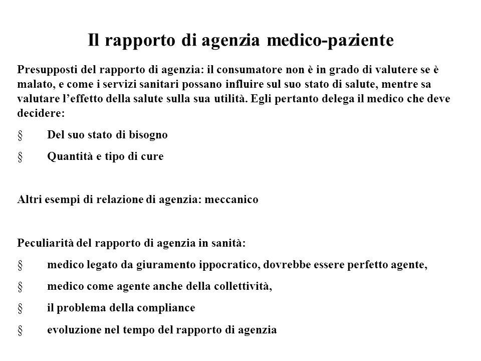 Il rapporto di agenzia medico-paziente Presupposti del rapporto di agenzia: il consumatore non è in grado di valutere se è malato, e come i servizi sa