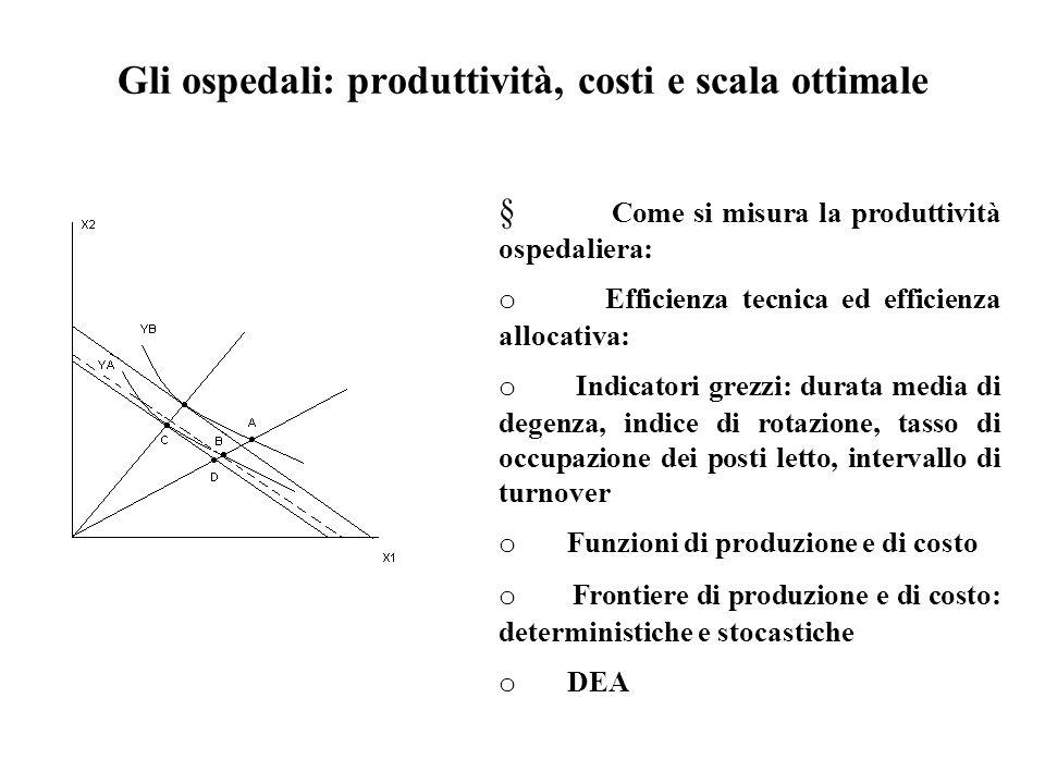 Gli ospedali: produttività, costi e scala ottimale  Come si misura la produttività ospedaliera: o Efficienza tecnica ed efficienza allocativa: o Indi