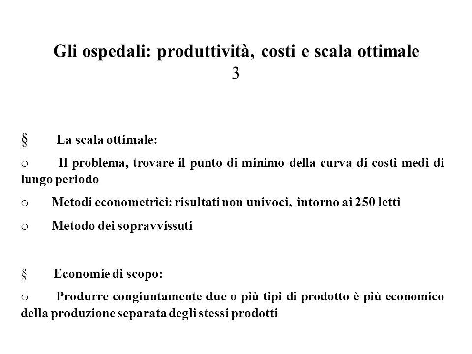 Gli ospedali: produttività, costi e scala ottimale 3  La scala ottimale: o Il problema, trovare il punto di minimo della curva di costi medi di lungo