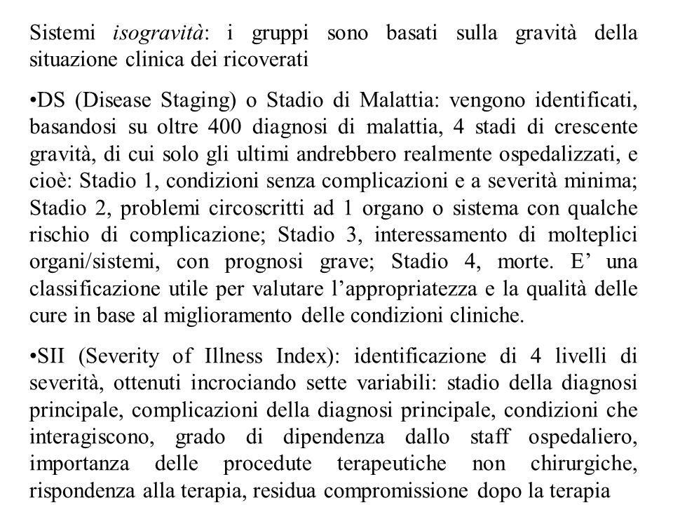 Sistemi isogravità: i gruppi sono basati sulla gravità della situazione clinica dei ricoverati DS (Disease Staging) o Stadio di Malattia: vengono iden