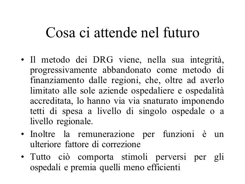 Cosa ci attende nel futuro Il metodo dei DRG viene, nella sua integrità, progressivamente abbandonato come metodo di finanziamento dalle regioni, che,