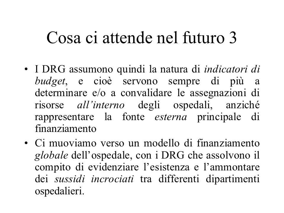 Cosa ci attende nel futuro 3 I DRG assumono quindi la natura di indicatori di budget, e cioè servono sempre di più a determinare e/o a convalidare le