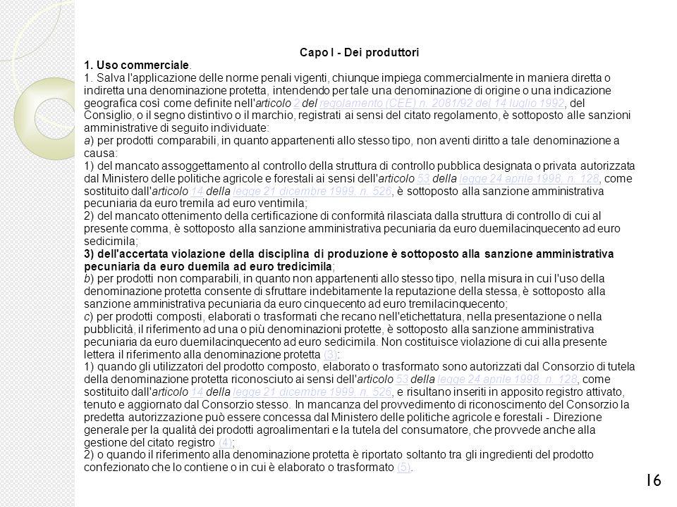 Capo I - Dei produttori 1. Uso commerciale. 1. Salva l'applicazione delle norme penali vigenti, chiunque impiega commercialmente in maniera diretta o