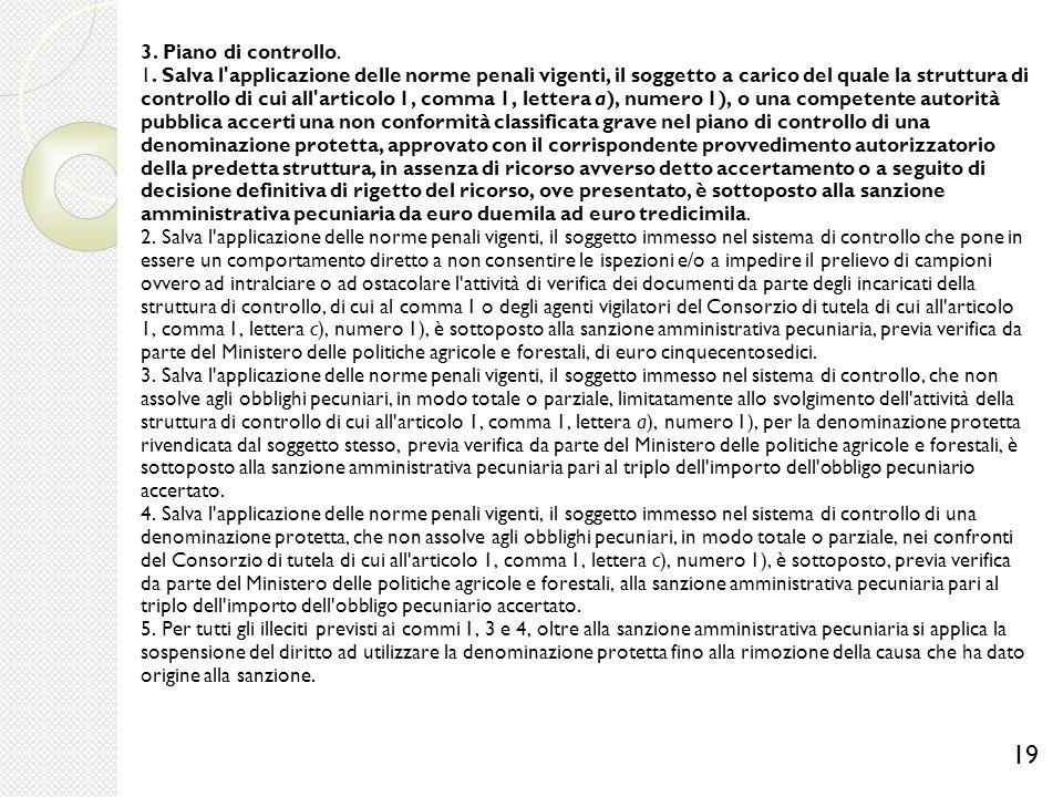 3. Piano di controllo. 1. Salva l'applicazione delle norme penali vigenti, il soggetto a carico del quale la struttura di controllo di cui all'articol
