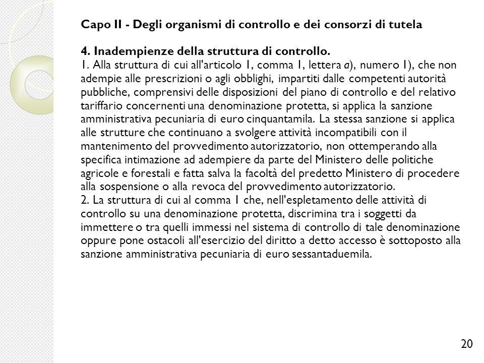 Capo II - Degli organismi di controllo e dei consorzi di tutela 4. Inadempienze della struttura di controllo. 1. Alla struttura di cui all'articolo 1,