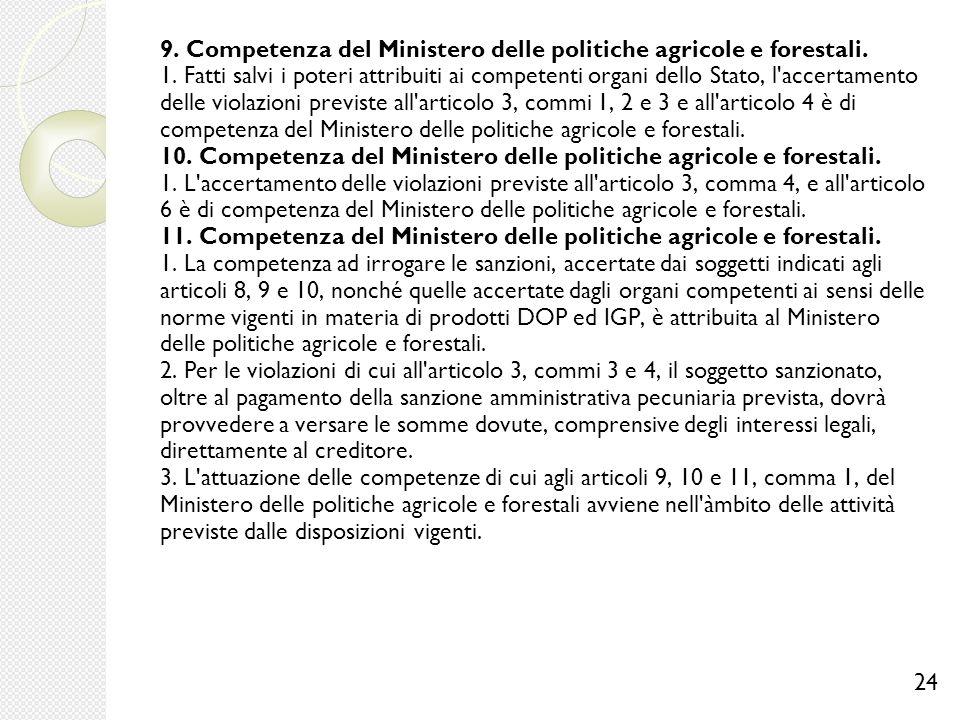 9. Competenza del Ministero delle politiche agricole e forestali. 1. Fatti salvi i poteri attribuiti ai competenti organi dello Stato, l'accertamento